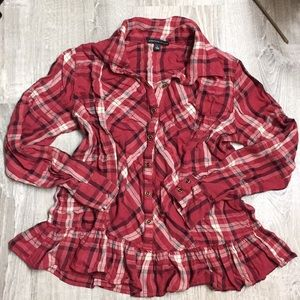 Long sleeve frilly button up